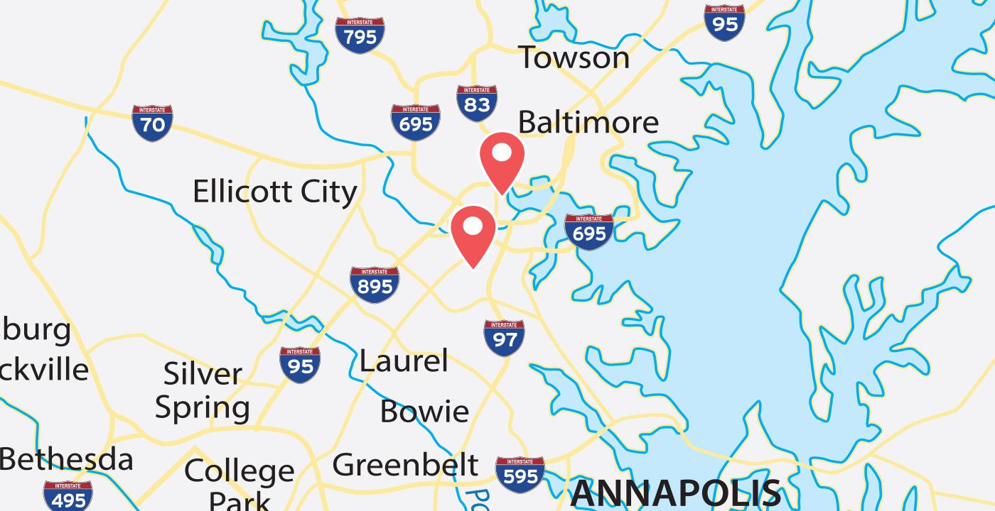 Baltimore Bayrunner Locations Map